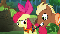Meadow Song tightening Apple Bloom's life jacket S6E4