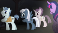 Party Favor, Night Glider, and Sugar Belle show off unmarkings S5E1.png
