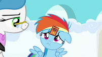 Filly Rainbow Dash wearing a participation sticker S7E7