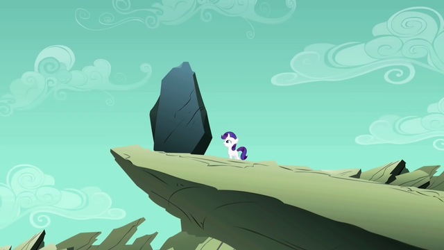 File:Filly Rarity looking up at the rock S1E23.png