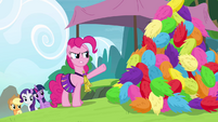 Pinkie Pie angry and pointing at pompoms S4E10