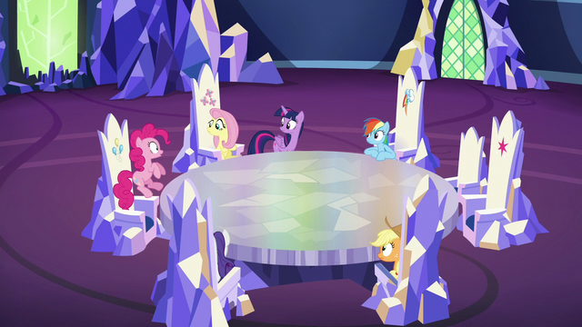 File:Pinkie Pie hops out of her throne S6E15.png