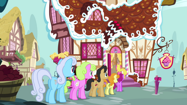 File:Ponies standing behind Fluttershy S02E19.png