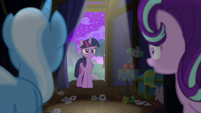 File:Trixie and Starlight look at an angry Twilight S6E6.png