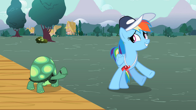 File:Rainbow Dash turning away from Tank S2E07.png