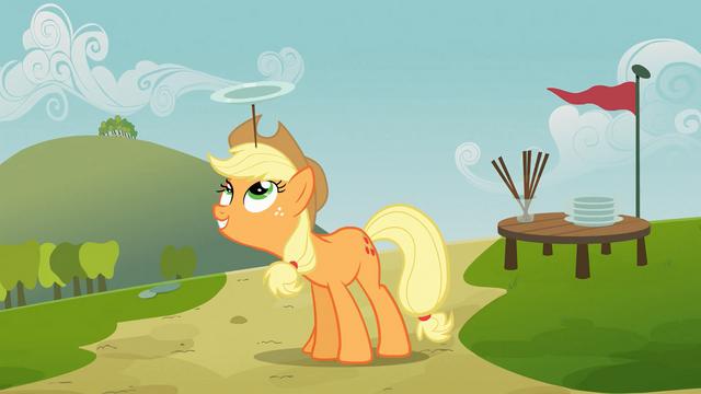 File:Applejack balancing plate on head S03E08.png