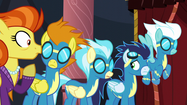 File:The Wonderbolts and Stormy Flare listening S5E15.png