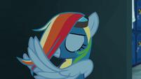 Rainbow Dash styling her mane S6E7