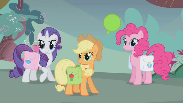 File:Rarity, AJ, and Pinkie ready to go S1E07.png