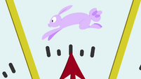 Meter points at picture of a rabbit S3E07