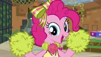 Pinkie Pie cheering at the fourth wall S7E2