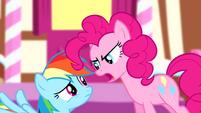 Pinkie Pie scaring Rainbow Dash S4E12