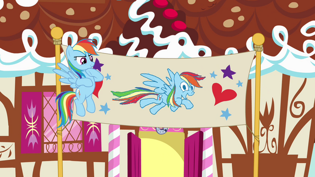 File:Rainbow Dash beside birthday banner S4E12.png