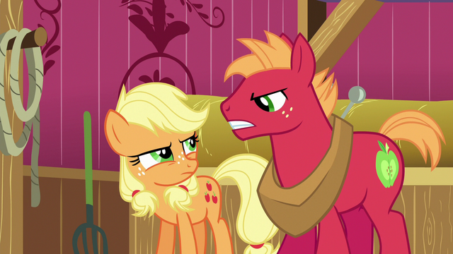 File:Young Applejack and Big McIntosh glare at each other S6E23.png