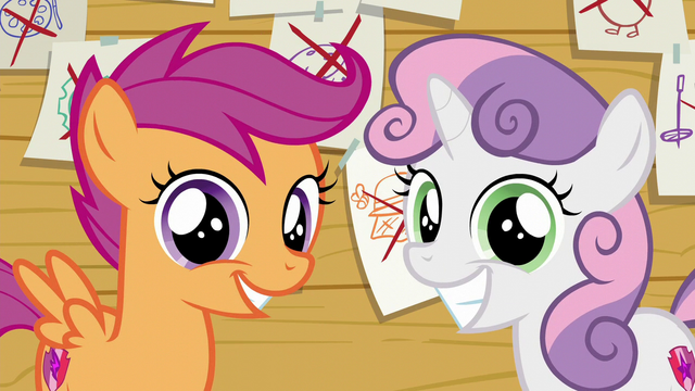 File:Scootaloo and Sweetie Belle smiling S6E4.png