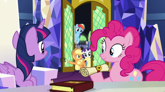 File:Applejack and friends enter the castle throne room S7E11.png