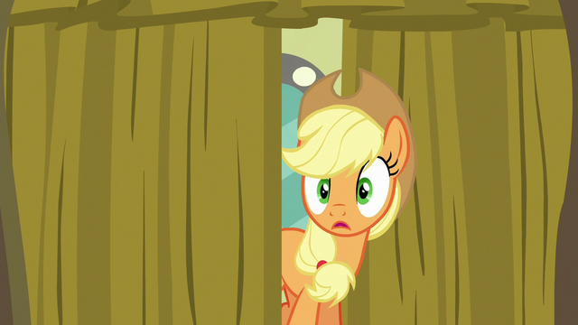 File:Applejack peeking behind the backstage curtain S6E20.png