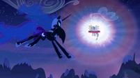 Nightmare Moon approaches Princess Celestia S4E02