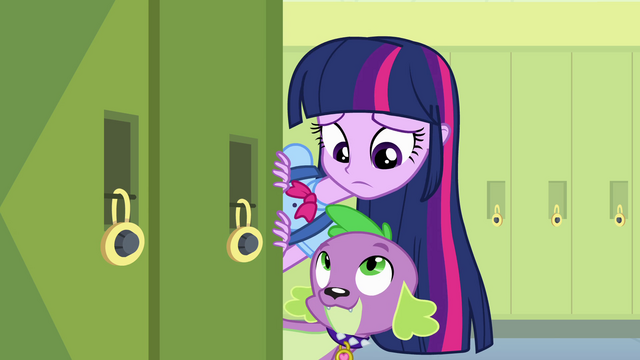 "File:Twilight and Spike ""pets on school grounds"" EG.png"
