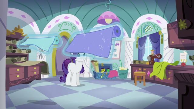 File:Rarity levitating some pieces of fabric S5E14.png