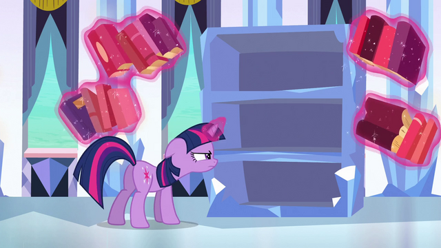 File:Twilight looking in the empty bookshelf S3E2.png
