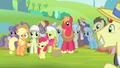 Ponies smiling at Applejack S4E20.png