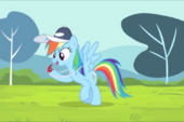 Rainbow Dash Holding Whistle S4E05