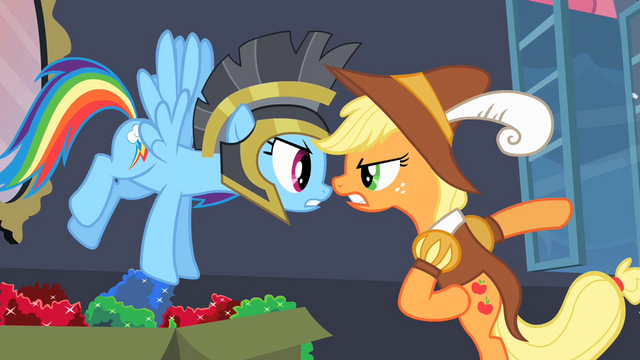 File:Rainbow Dash and Applejack arguing S2E11.png
