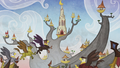 Griffons flying with the Griffonstone castle in the background S5E8.png