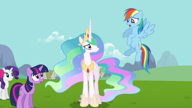 File:Rainbow Dash skeptical about Celestia and Fluttershy S03E10.png