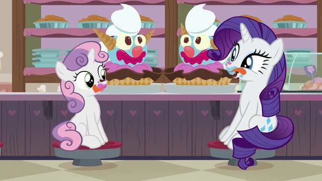 File:Rarity eating giant ice cream sundaes S7E6.png