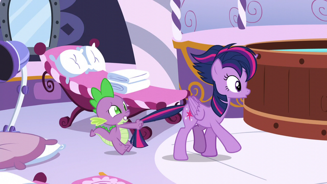 File:Spike holds Twilight by the tail S5E3.png