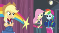 AJ, Fluttershy, and Rainbow looking uncertain EGS1.png
