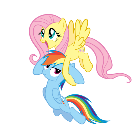 File:FANMADE Fluttershy dragging Rainbow Dash by elbongo-d4grnnc.png