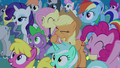 Ponies cheer for Celestia and Luna S4E02.png