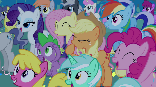 File:Ponies cheer for Celestia and Luna S4E02.png