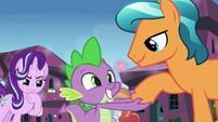 Crystal Pony 3 shakes Spike's claw S6E1