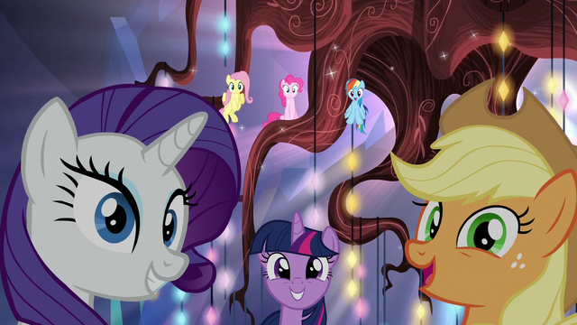 File:Mane Six pleased to see Cadance and Shining Armor S5E19.png