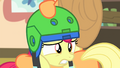 Apple Bloom being put on a second helmet S4E17.png