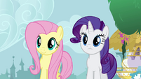 Fluttershy and Rarity talking to Twilight S4E01
