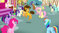 Mane 6 looking at Cheese dancing while singing S4E12.png