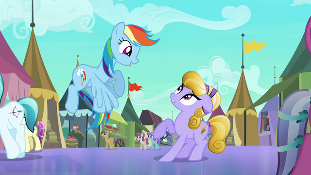 File:Rainbow Dash accosting Amber Waves S3E01.png