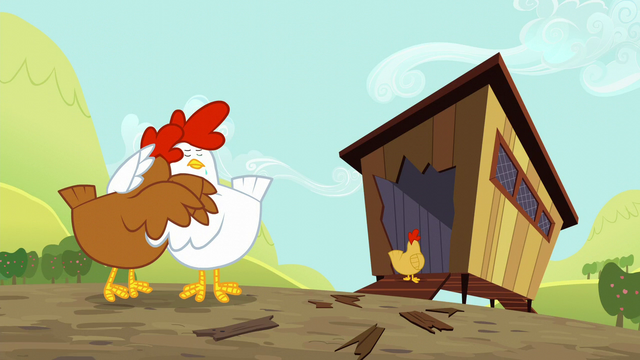 File:Chickens upset by destroyed coop S5E17.png