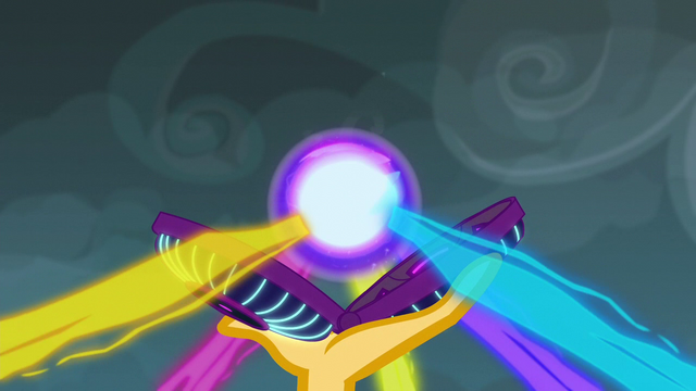 File:Closeup on the Equestria Girls' magic flowing into the device EG3.png