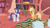 Applejack and Rarity staring offscreen S1E8