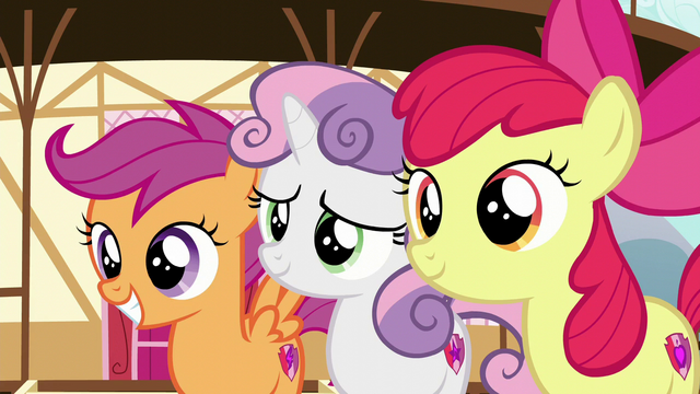 File:Cutie Mark Crusaders happy for Tender Taps S6E4.png
