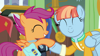 Windy Whistles and Scootaloo hoof-bump S7E7