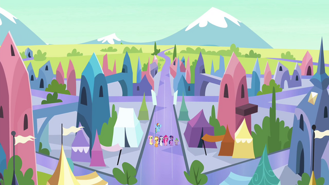 File:Mane 6 and Spike arrive in the Crystal Empire S4E25.png