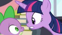 Twilight facing Spike S4E01