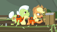 Applejack and Granny Smith on the raft S4E09
